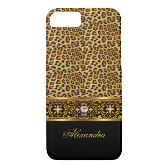 Elegant Wild Leopard Black Gold Jewel Trim iPhone 7 Case