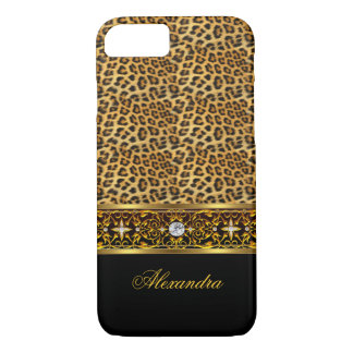 Elegant Wild Leopard Black Gold Jewel Trim iPhone 8/7 Case