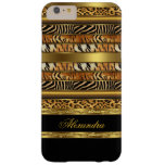 Elegant Wild Mixed Animal Black and Gold Barely There iPhone 6 Plus Case