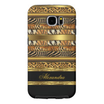 Elegant Wild Mixed Animal Black and Gold Samsung Galaxy S6 Case