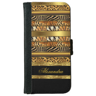 Elegant Wild Mixed Animal Black and Gold Wallet Phone Case For iPhone 6/6s
