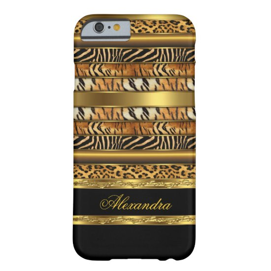 Elegant Wild Mixed Animal Black Gold 2 Barely There iPhone 6 Case