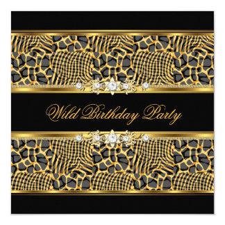Elegant Wild Zebra Birthday Party Black Gold Card