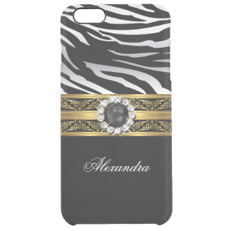 Elegant Wild Zebra Black Gold White Pearl Jewel Clear iPhone 6 Plus Case