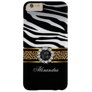 Elegant Wild Zebra Stripe Leopard Black Gold Pearl Barely There iPhone 6 Plus Case