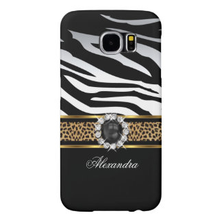 Elegant Wild Zebra Stripe Leopard Black Gold Pearl Samsung Galaxy S6 Cases