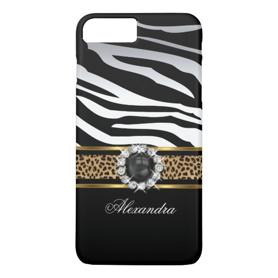 Elegant Wild Zebra Stripe Leopard Black Gold Pearl iPhone 7 Plus Case
