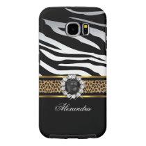 Elegant Wild Zebra Stripe Leopard Black Gold Pearl Samsung Galaxy S6 Case