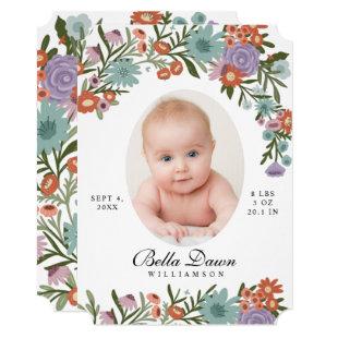 Elegant Wildflower Spring Floral Baby Photo White Invitation