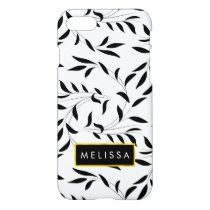 Elegant Willow Leaf Pattern with Your Name iPhone 7 Case