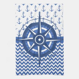 Elegant Windrose Nautical Coastal Pattern Hand Towel