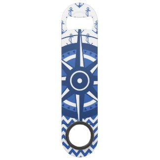 Elegant Windrose Nautical Coastal Pattern Speed Bottle Opener