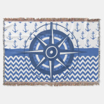 Elegant Windrose Nautical Coastal Pattern Throw Blanket