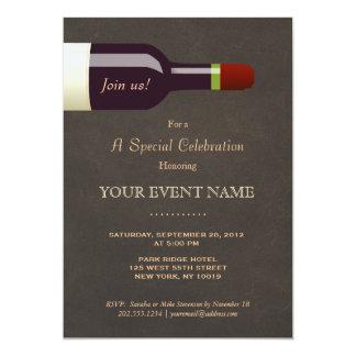 Elegant Wine Bottle Leather Look Formal 5x7 Paper Invitation Card