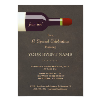 Elegant Wine Bottle, Wine Tasting Party Card