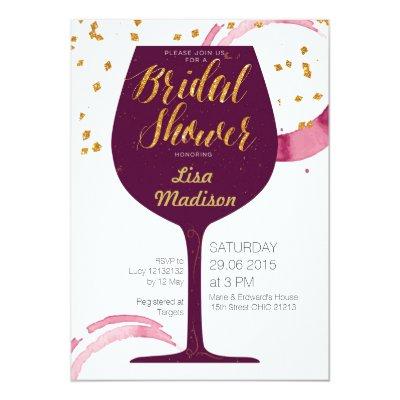 elegant wine tasting bridal shower invitation zazzlecom