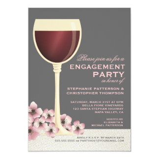 "Elegant Wine & Floral Wedding Engagement Party 5"" X 7"" Invitation Card"