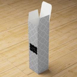 Elegant wine gift box with grey quatrefoil pattern