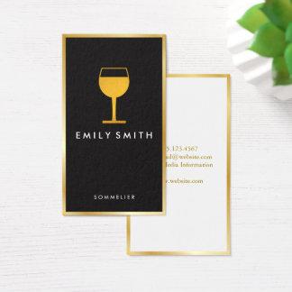 Elegant Wine Glass Faux Gold Border Business Card