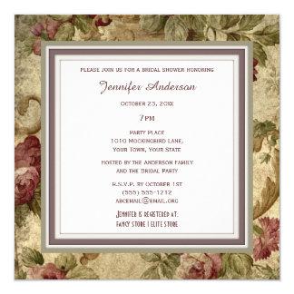 Elegant Wine Gold Rose Theme Bridal Shower Card