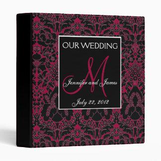 Elegant Wine Red Damask Monogram Wedding Planner 3 Ring Binder