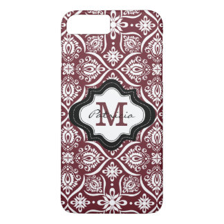 Elegant Wine Red Damask Pattern Custom Monogram[2] iPhone 7 Plus Case