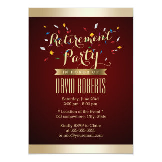 Elegant Wine Red Gold Stripes Retirement Party Personalized Announcement