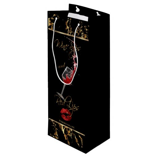 Elegant Wine Sips and Red Lips - Thank You Wine Gift Bag