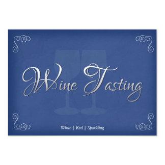 Elegant Wine Tasting Party Invitations in Blue