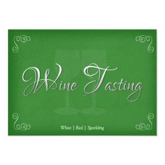 Elegant Wine Tasting Party Invitations in Green