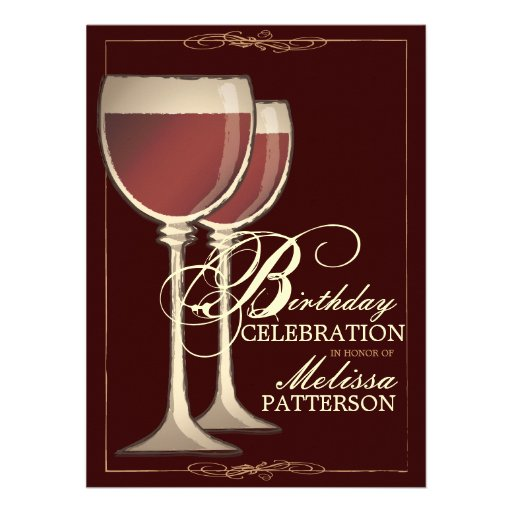 Elegant Wine Themed Birthday Party Invitation