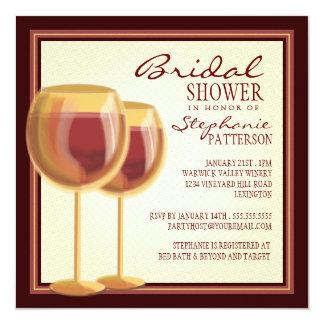 "Elegant Wine Themed Bridal Shower Invitation 5.25"" Square Invitation Card"