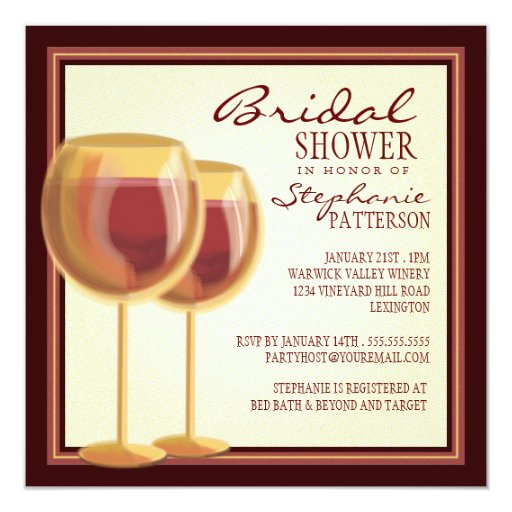 Elegant wine themed bridal shower invitation zazzle for Themed bridal shower invitations