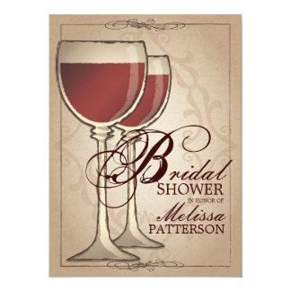 "Elegant Wine Themed Bridal Shower Invitation 5.5"" X 7.5"" Invitation Card"