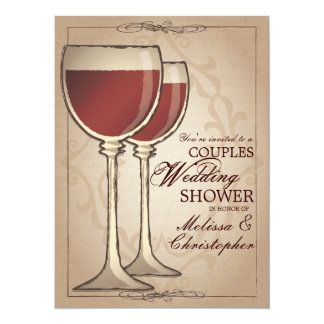 Elegant Wine Themed Couples Wedding Shower Card