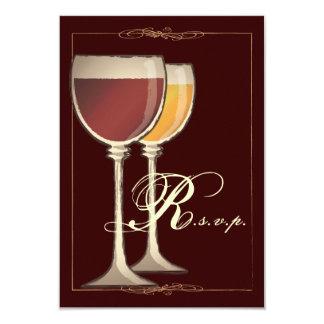 "Elegant Wine Themed Party RSVP Response Card 3.5"" X 5"" Invitation Card"