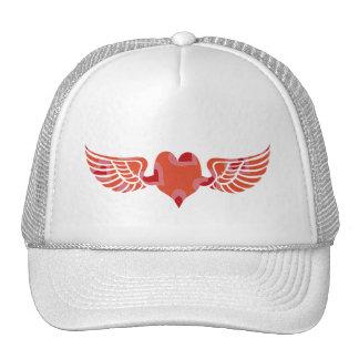 elegant winged heart trucker hat