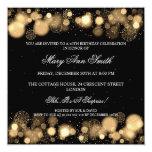 "Elegant Winter 40th Birthday Party Gold 5.25"" Square Invitation Card"