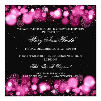 Elegant Winter 40th Birthday Party Pink Personalized Invite