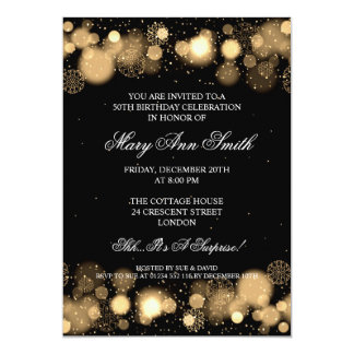 Elegant Winter 50th Birthday Party Gold Card