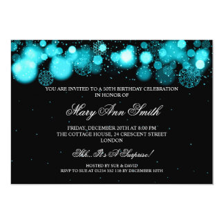 Elegant Winter 50th Birthday Party Turquoise Card