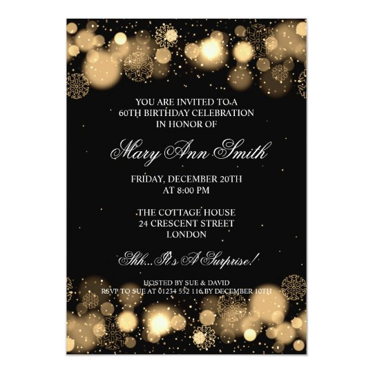 20th Birthday London: Elegant Winter 60th Birthday Party Gold Card