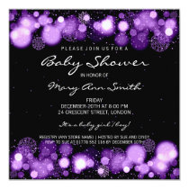 Elegant Winter Baby Shower Purple Card