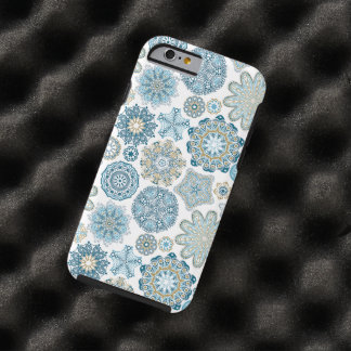 Elegant Winter Blue Fantasy Snow Flakes Pattern Tough iPhone 6 Case