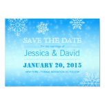 Elegant Winter Blue Snowflakes Save the Date Card