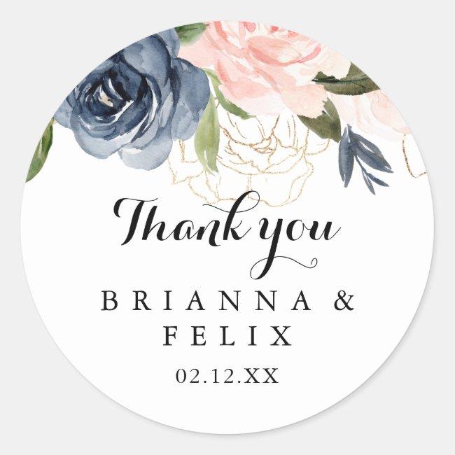 Elegant Winter Floral Thank You Wedding Favor Classic Round Sticker