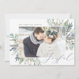 Elegant Winter Foliage Frame | Holiday Photo Card