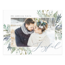 Elegant Winter Foliage Frame | Holiday Photo Postcard