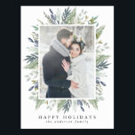 "Elegant Winter Foliage Frame | Holiday Photo Postcard<br><div class=""desc"">Wish friends and family a happy holiday with our Elegant Winter Foliage Frame holiday photo postcard. The stylish holiday postcard displays your favorite photo on the front framed by watercolor leaves and foliage in shades of green and blue. Personalize the front by adding a custom your family"