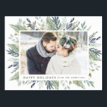 "Elegant Winter Foliage Frame | Holiday Photo Postcard<br><div class=""desc"">Wish friends and family a happy holiday with our Elegant Winter Foliage Frame holiday photo postcard. The stylish holiday postcard displays your favorite horizontal photo on the front framed by watercolor leaves and foliage in shades of green and blue. Personalize the front by adding a custom your family"